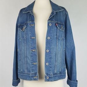Levi's women's denim trucker button front jacket L